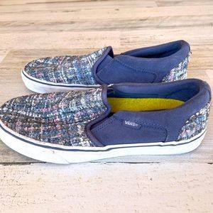 VANS BLUE SUEDE WOVEN PINK GRAY SILVER ORT…